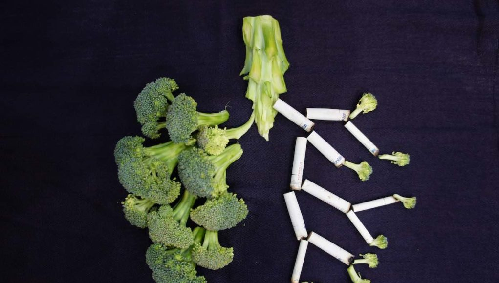 Lungs made of broccoli and cigarettes and aspiration pneumonia and dysphagia